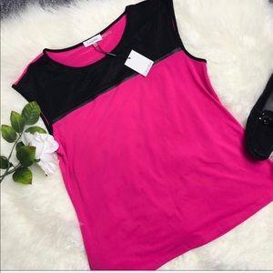 Calvin Klein Pink & White Blouse